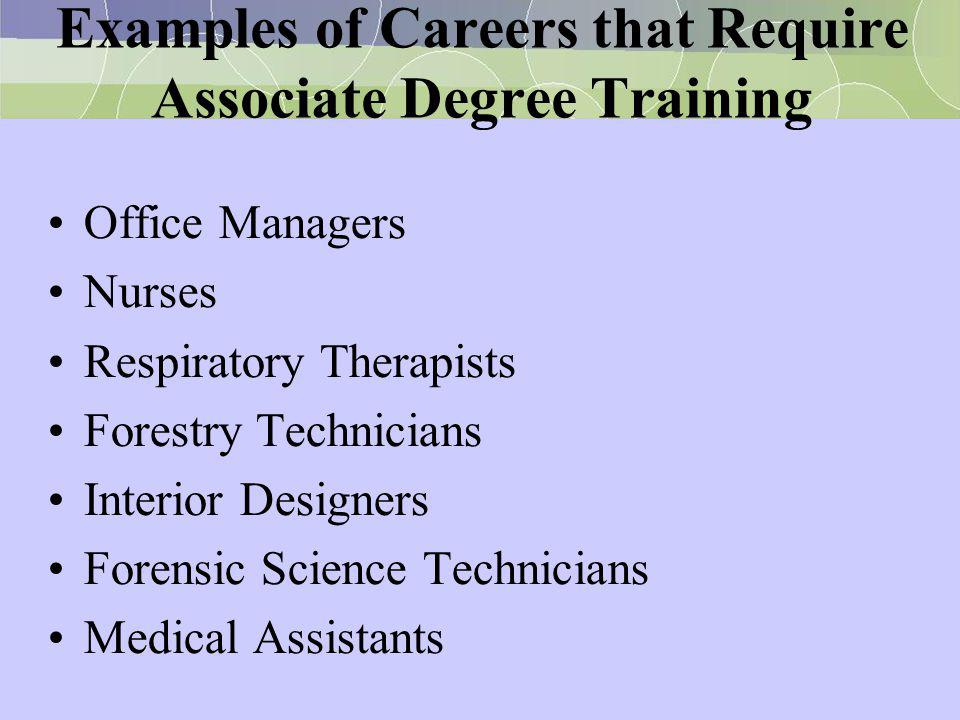 Examples of Careers that Require Associate Degree Training Office Managers Nurses Respiratory Therapists Forestry Technicians Interior Designers Foren