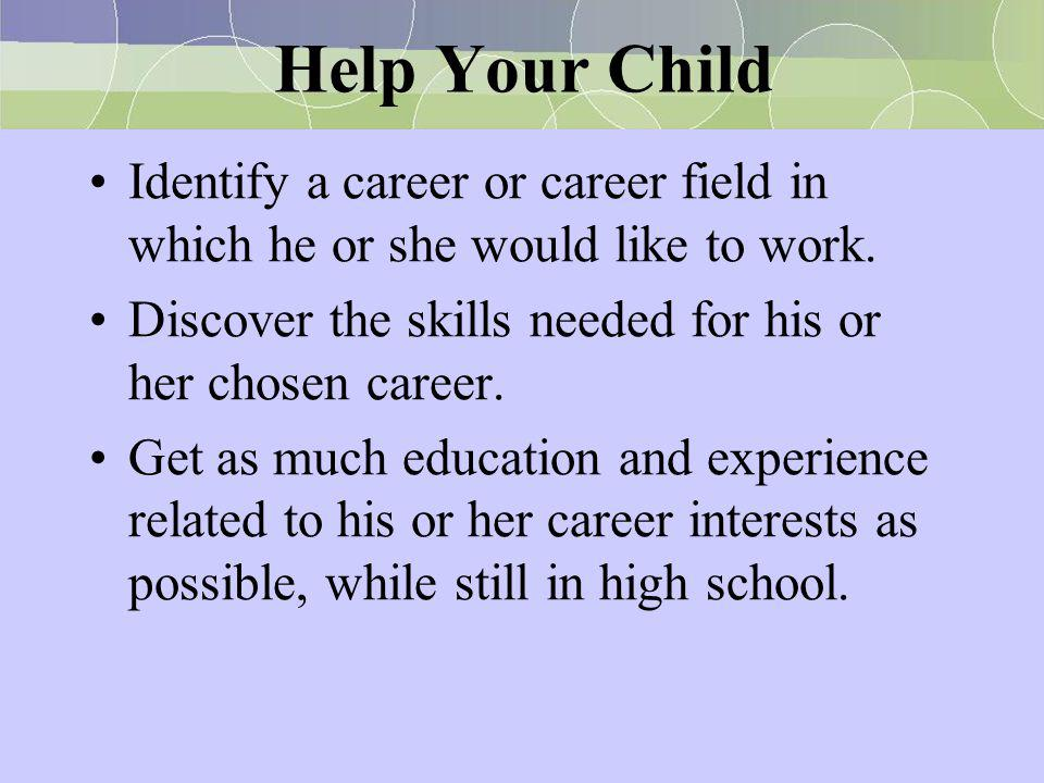 Help Your Child Collect information about post-high school training needed to fit his or her career plan.