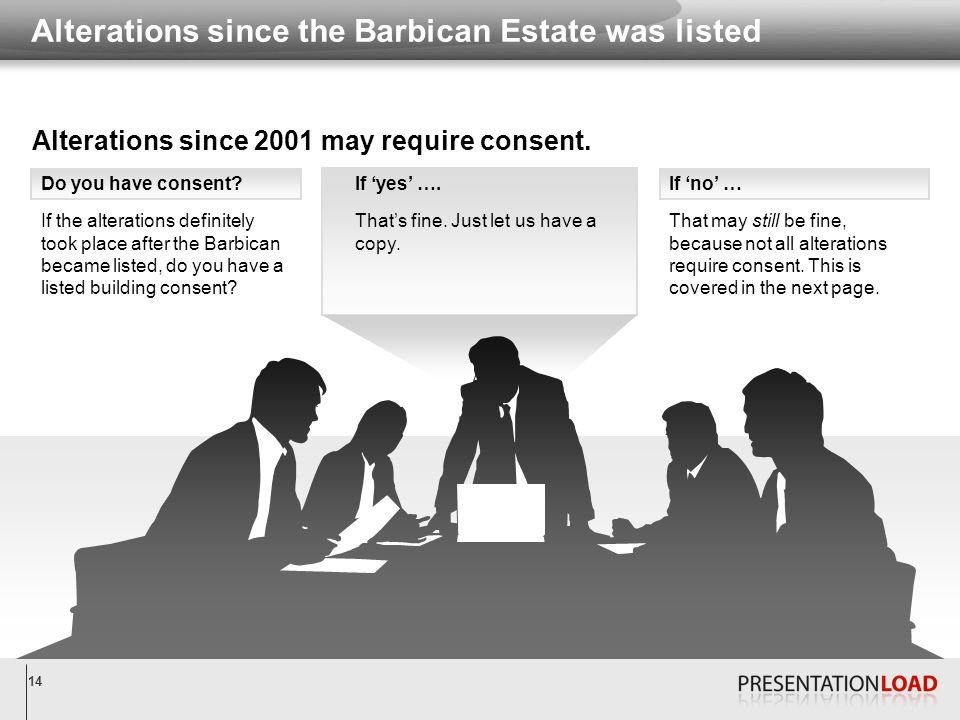 14 Alterations since the Barbican Estate was listed Do you have consent.