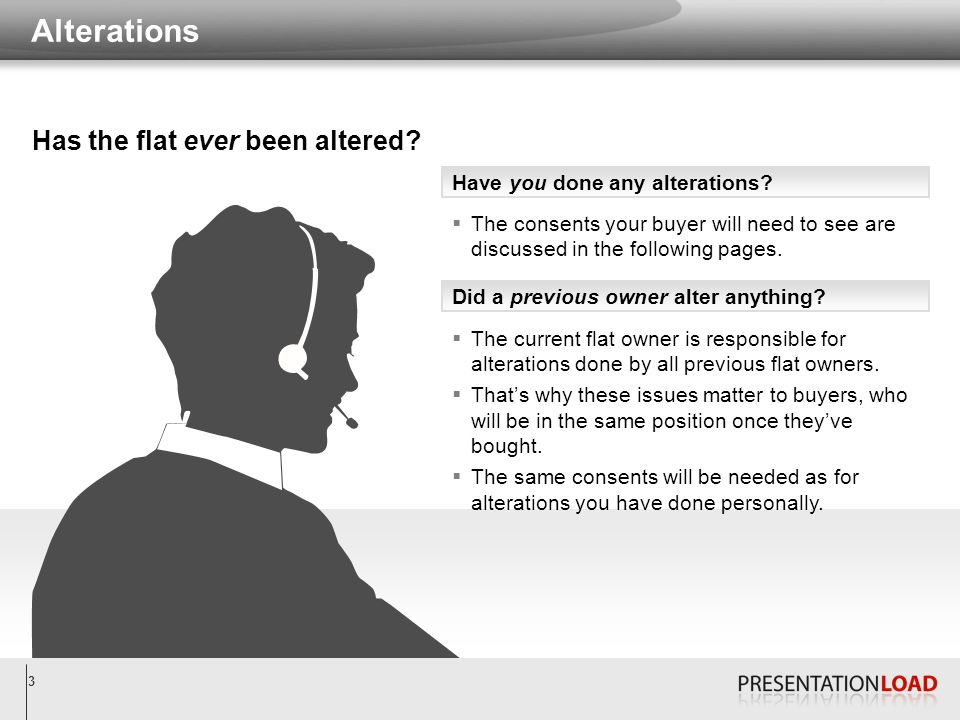 3 Alterations Have you done any alterations? Did a previous owner alter anything?  The consents your buyer will need to see are discussed in the foll