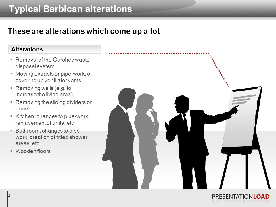 4 Typical Barbican alterations Alterations  Removal of the Garchey waste disposal system  Moving extracts or pipe-work, or covering up ventilator ve