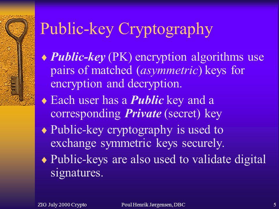 ZIG July 2000 CryptoPoul Henrik Jørgensen, DBC5 Public-key Cryptography  Public-key (PK) encryption algorithms use pairs of matched (asymmetric) keys for encryption and decryption.