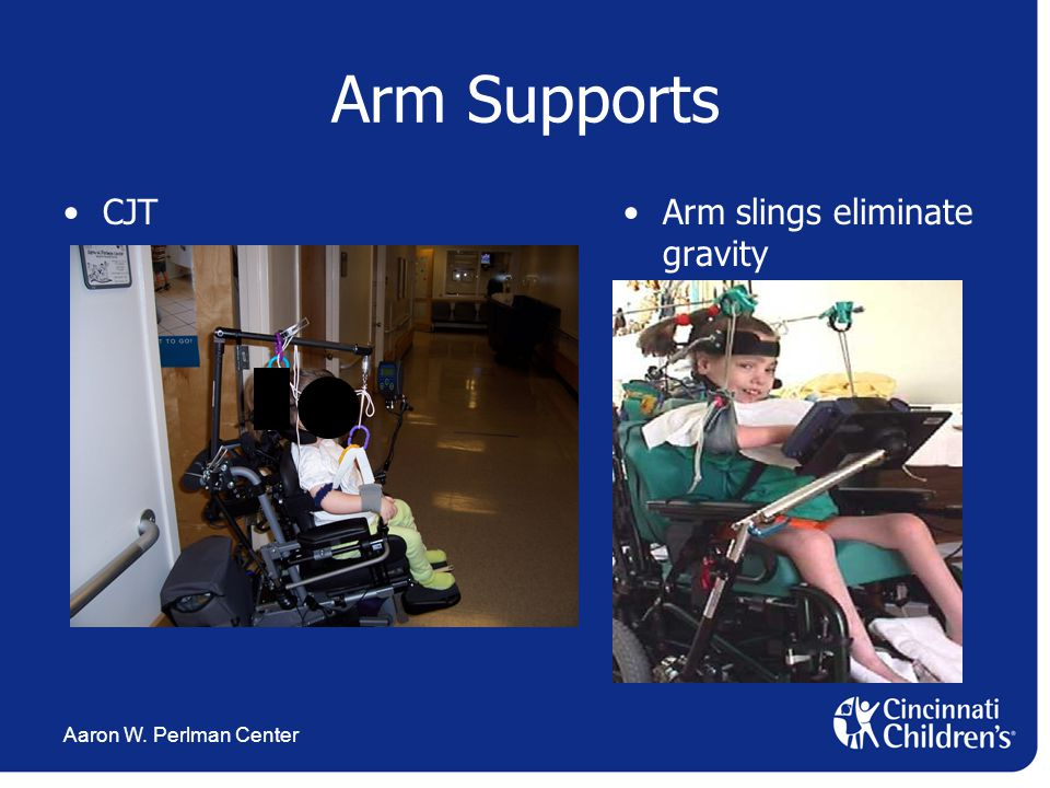 Aaron W. Perlman Center Arm Supports CJTArm slings eliminate gravity