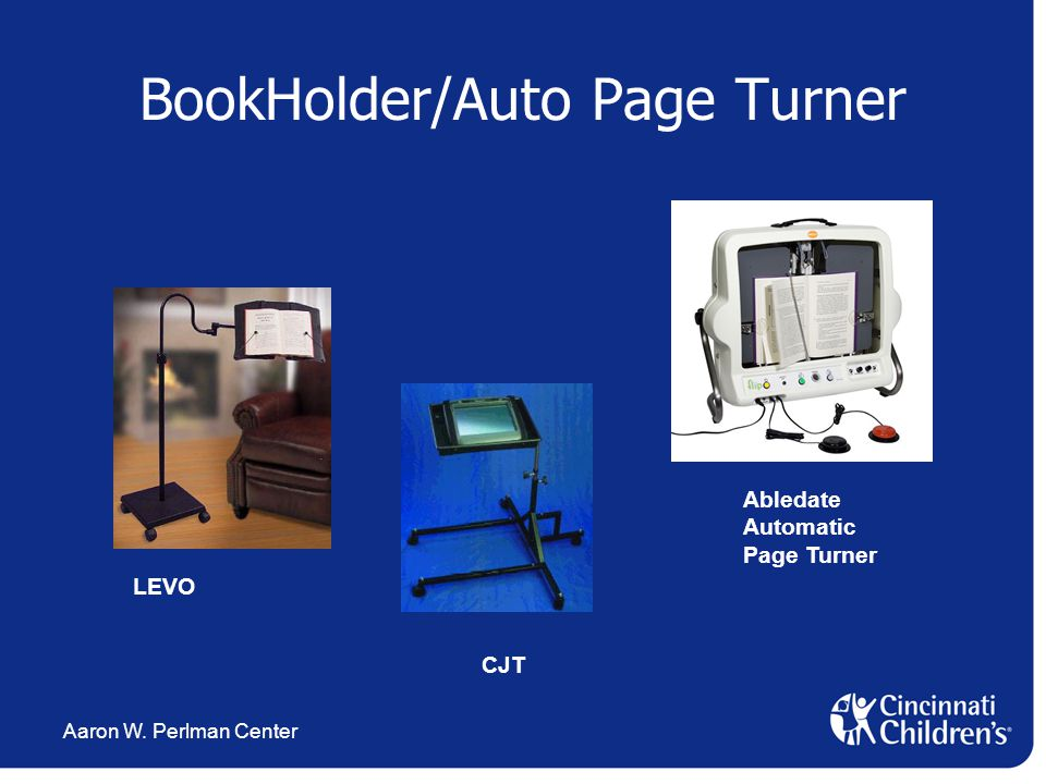 Aaron W. Perlman Center BookHolder/Auto Page Turner CJT LEVO Abledate Automatic Page Turner
