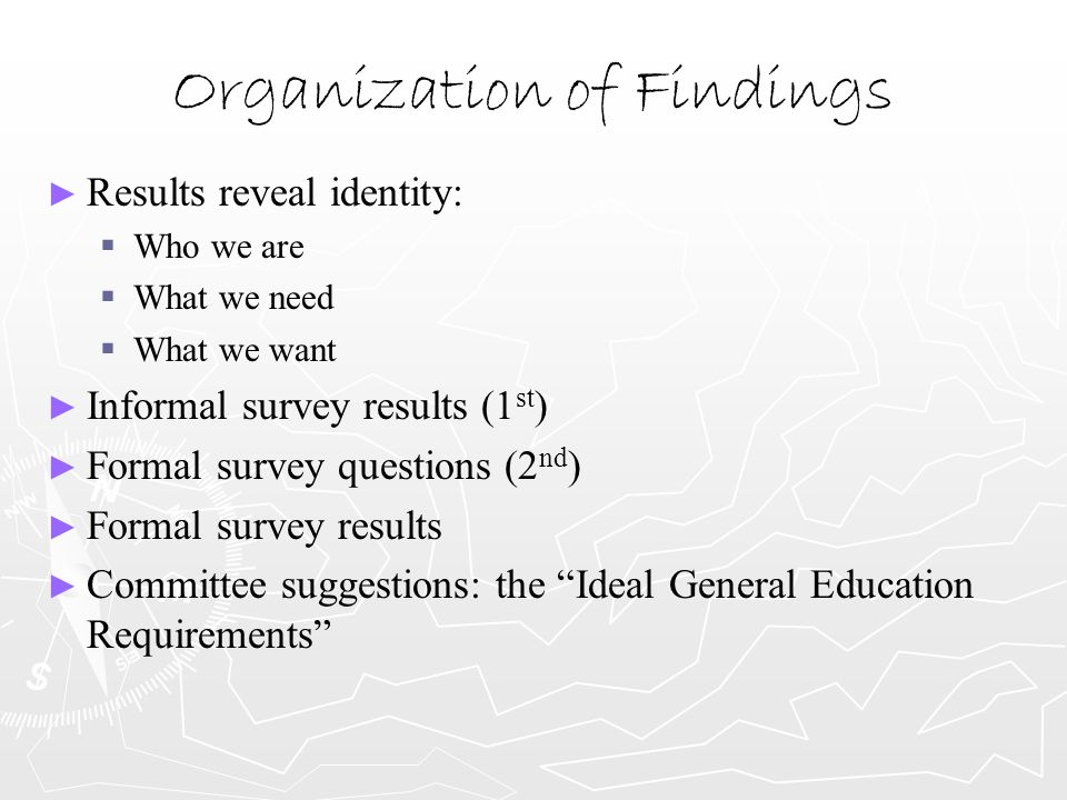 Organization of Findings ► ► Results reveal identity:   Who we are   What we need   What we want ► ► Informal survey results (1 st ) ► ► Formal