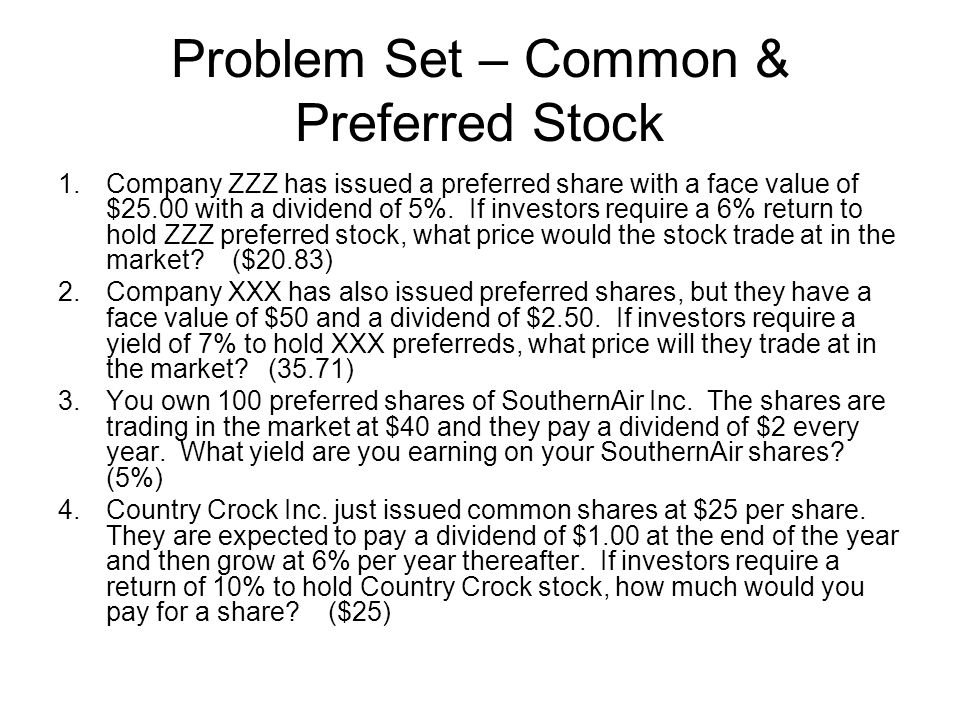 Problem Set – Common & Preferred Stock 5.Western Linens paid a dividend of $1.25 per common share yesterday.
