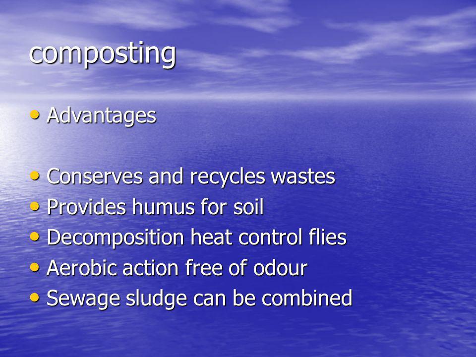 composting Advantages Advantages Conserves and recycles wastes Conserves and recycles wastes Provides humus for soil Provides humus for soil Decomposi