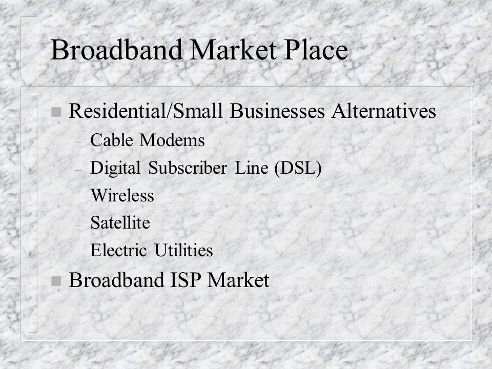 Broadband Market Place n Residential/Small Businesses Alternatives – Cable Modems – Digital Subscriber Line (DSL) – Wireless – Satellite – Electric Ut