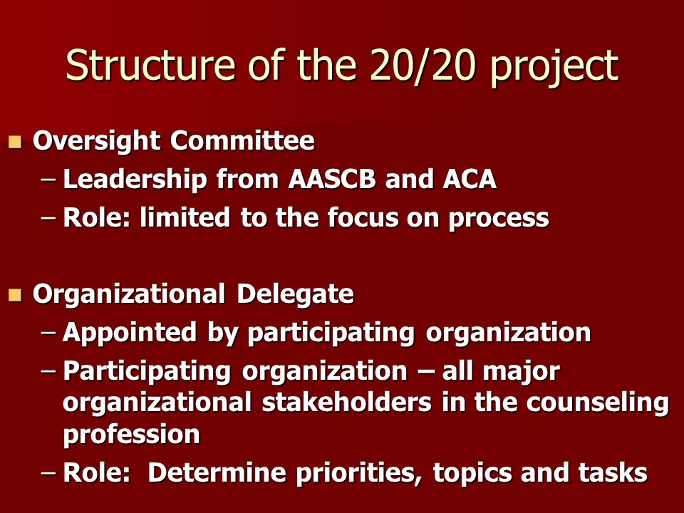 Structure of the 20/20 project Oversight Committee Oversight Committee –Leadership from AASCB and ACA –Role: limited to the focus on process Organizational Delegate Organizational Delegate –Appointed by participating organization –Participating organization – all major organizational stakeholders in the counseling profession –Role: Determine priorities, topics and tasks