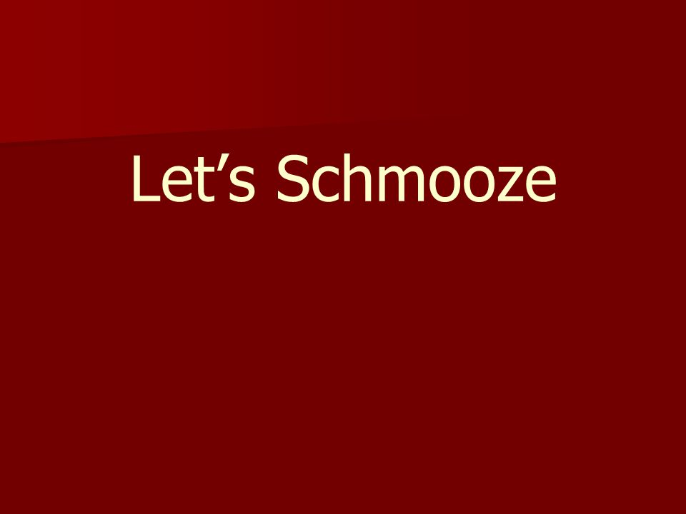 Let's Schmooze