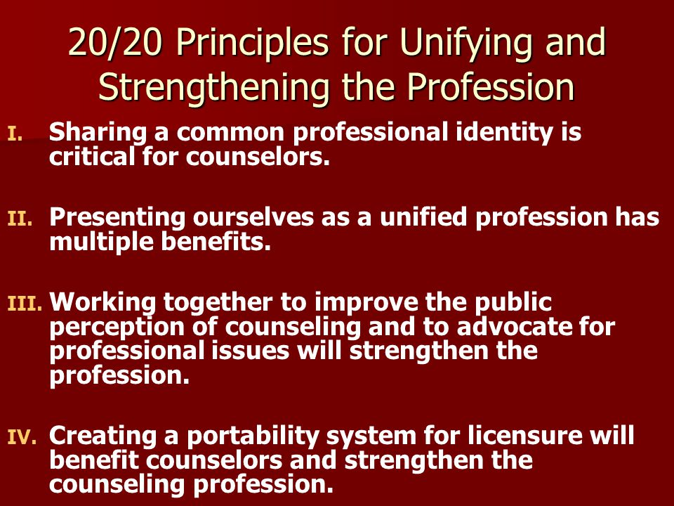 20/20 Principles for Unifying and Strengthening the Profession V.