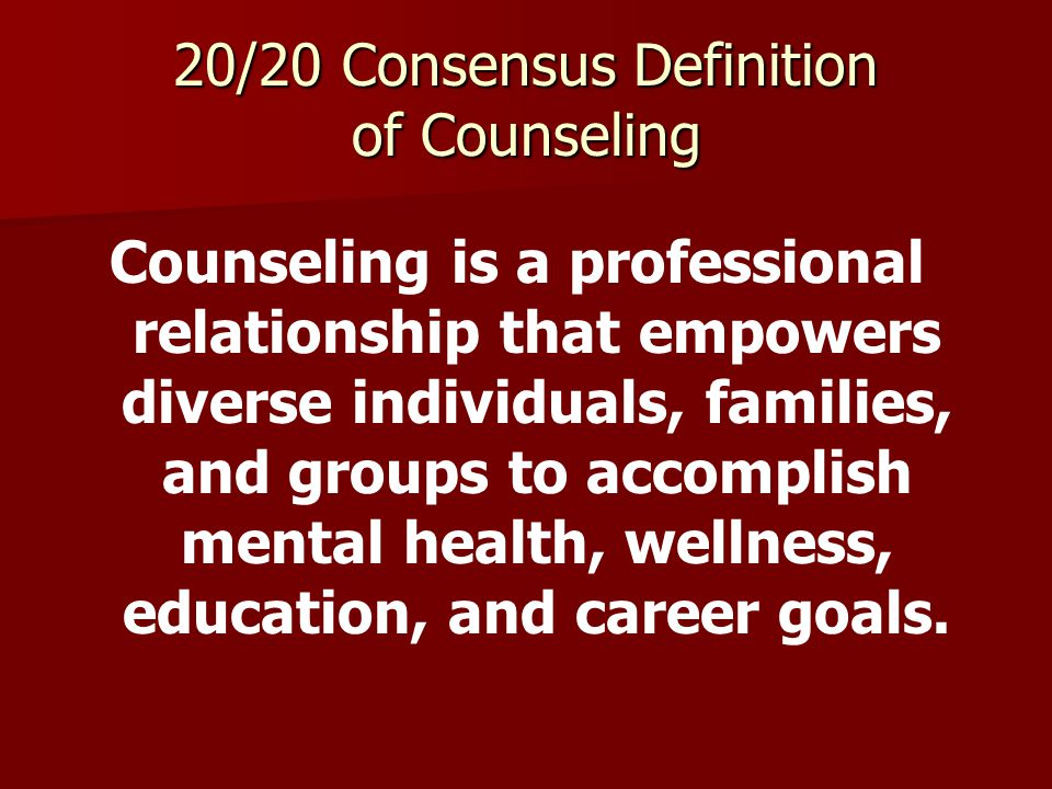 Summary of 20/20 Accomplishments 28 of 29 participating organizations endorsed the 20/20 Statement of Principles 29 of 31 participating organizations endorsed the 20/20 Consensus Definition of Counseling The definition is showing up on independent websites, is being used in state advocacy efforts, and is appearing in textbooks.