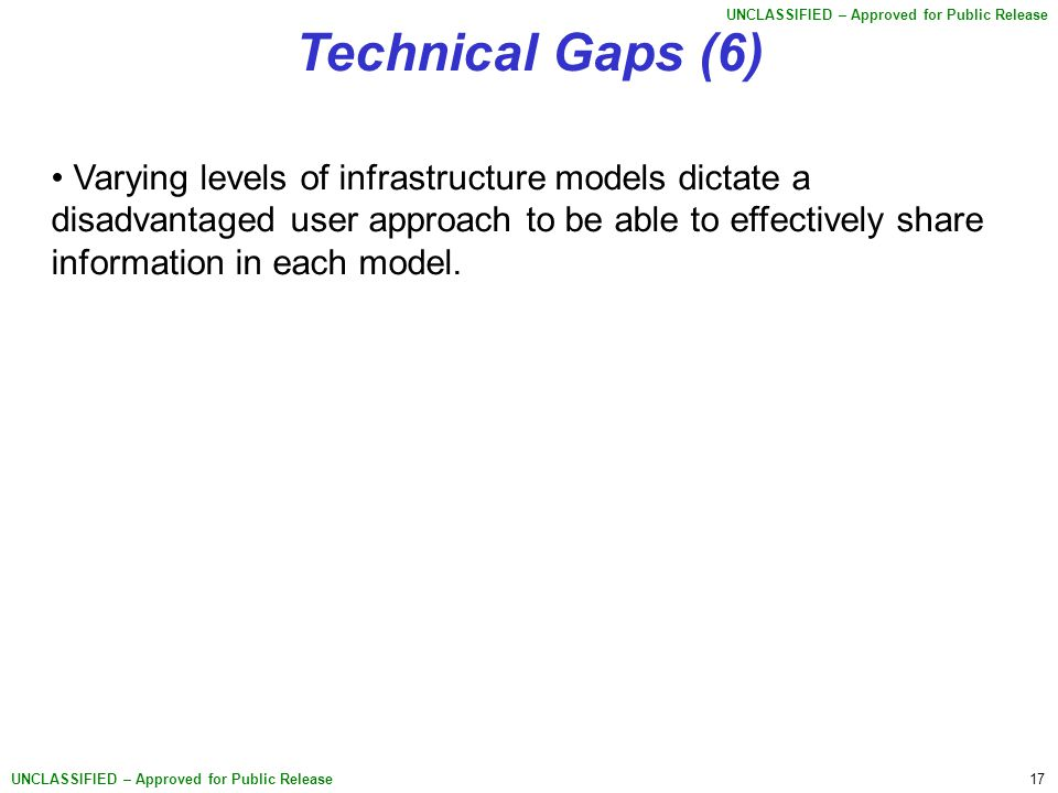 17 UNCLASSIFIED – Approved for Public Release Technical Gaps (6) Varying levels of infrastructure models dictate a disadvantaged user approach to be able to effectively share information in each model.