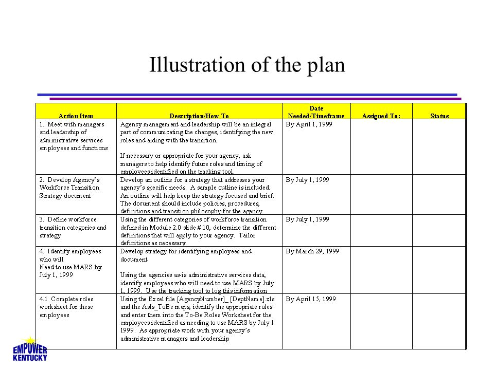 Overview of the plan 3.Develop agency transition strategy 1.