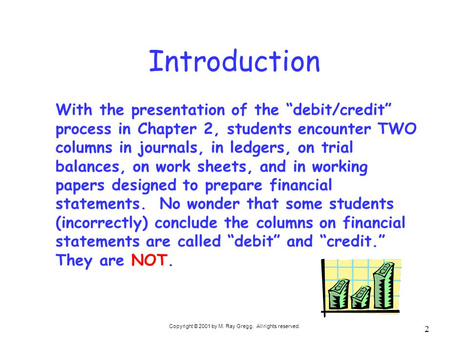 "Copyright © 2001 by M. Ray Gregg. All rights reserved. 2 Introduction With the presentation of the ""debit/credit"" process in Chapter 2, students encou"