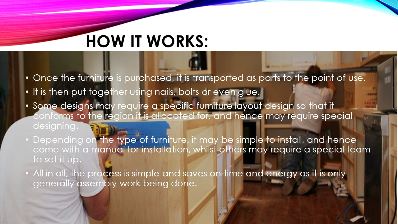 HOW IT WORKS: Once the furniture is purchased, it is transported as parts to the point of use.