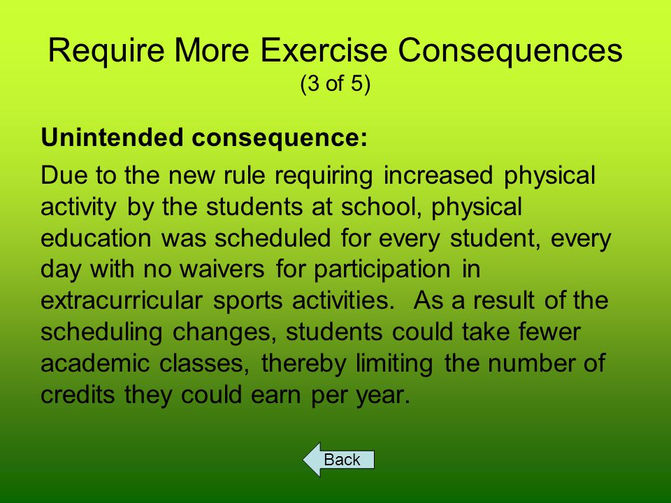 Require More Exercise Consequences (3 of 5) Unintended consequence: Due to the new rule requiring increased physical activity by the students at school, physical education was scheduled for every student, every day with no waivers for participation in extracurricular sports activities.