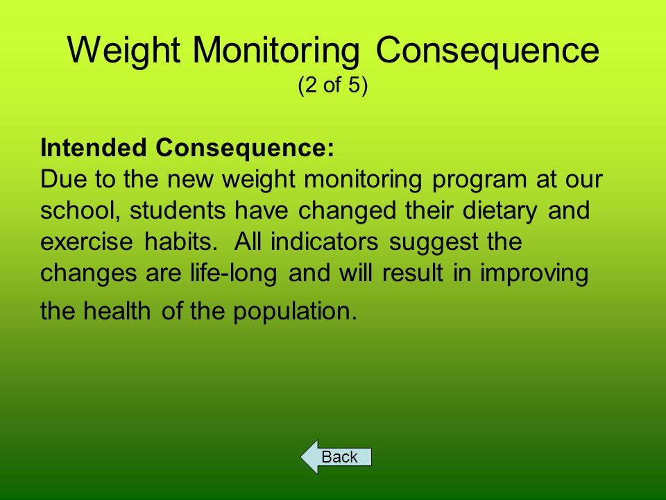 Weight Monitoring Consequence (2 of 5) Intended Consequence: Due to the new weight monitoring program at our school, students have changed their dietary and exercise habits.