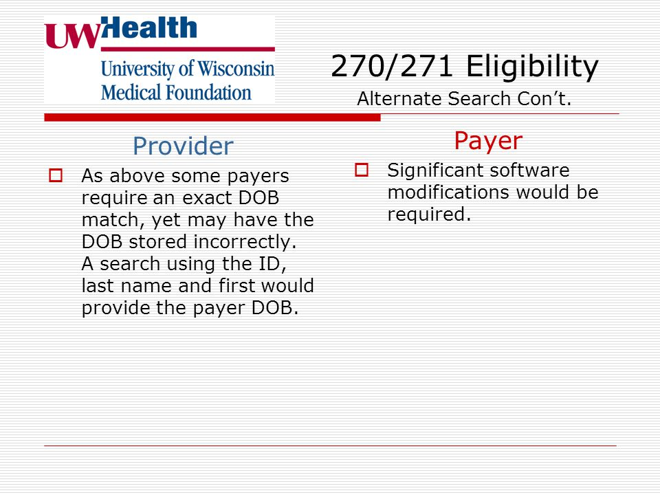 New required alternate search options using member ID and DOB or member ID and name 270/271 Eligibility Provider  Some payers now require an exact ma