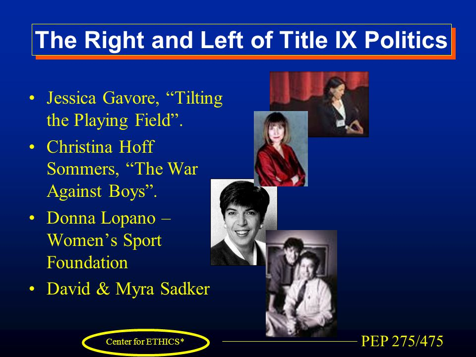 """PEP 275/475 Center for ETHICS* The Right and Left of Title IX Politics Jessica Gavore, """"Tilting the Playing Field"""". Christina Hoff Sommers, """"The War A"""