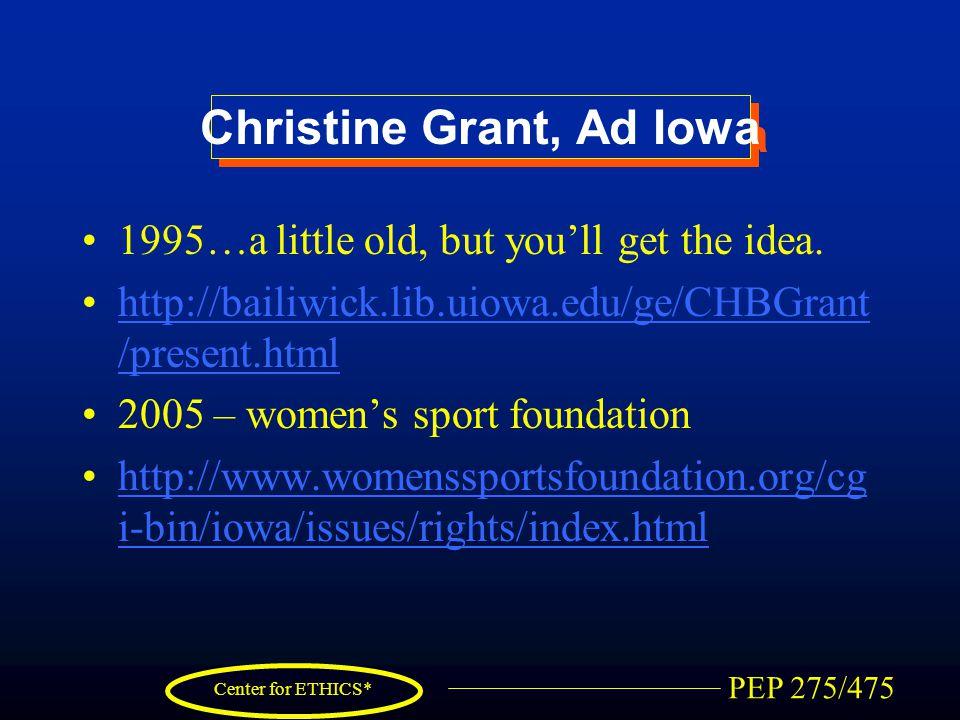 PEP 275/475 Center for ETHICS* Christine Grant, Ad Iowa 1995…a little old, but you'll get the idea. http://bailiwick.lib.uiowa.edu/ge/CHBGrant /presen