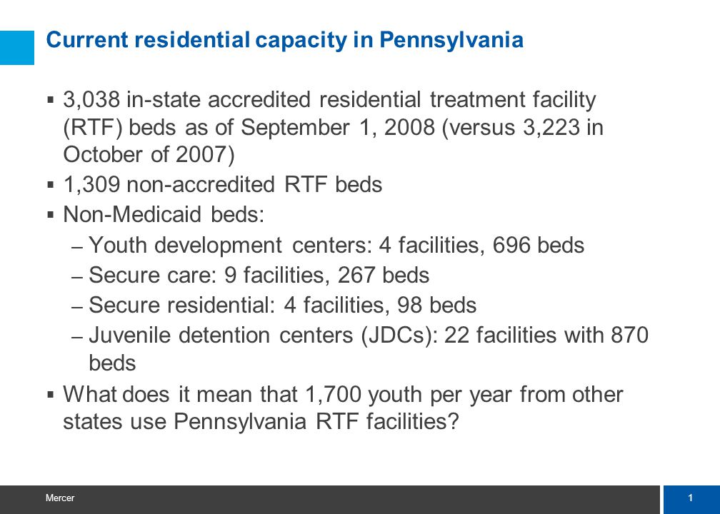 1 Mercer Current residential capacity in Pennsylvania  3,038 in-state accredited residential treatment facility (RTF) beds as of September 1, 2008 (versus 3,223 in October of 2007)  1,309 non-accredited RTF beds  Non-Medicaid beds: – Youth development centers: 4 facilities, 696 beds – Secure care: 9 facilities, 267 beds – Secure residential: 4 facilities, 98 beds – Juvenile detention centers (JDCs): 22 facilities with 870 beds  What does it mean that 1,700 youth per year from other states use Pennsylvania RTF facilities?