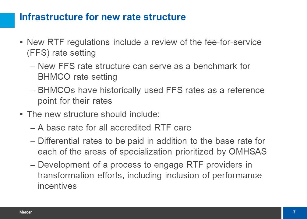 7 Mercer Infrastructure for new rate structure  New RTF regulations include a review of the fee-for-service (FFS) rate setting – New FFS rate structu
