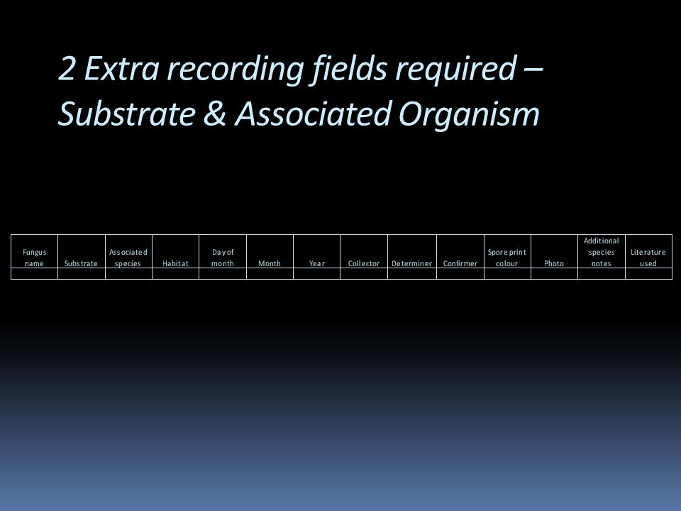 2 Extra recording fields required – Substrate & Associated Organism