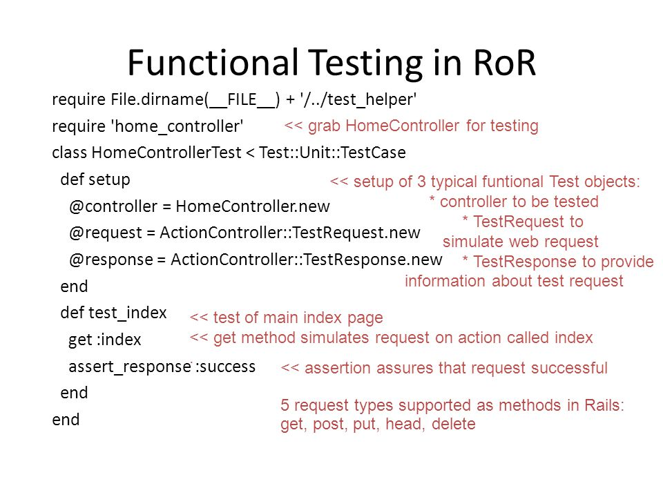 Functional Testing in RoR require File.dirname(__FILE__) + '/../test_helper' require 'home_controller' class HomeControllerTest < Test::Unit::TestCase