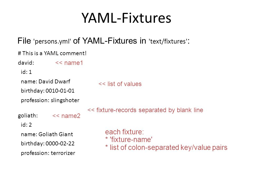YAML-Fixtures # This is a YAML comment! david: id: 1 name: David Dwarf birthday: 0010-01-01 profession: slingshoter goliath: id: 2 name: Goliath Giant