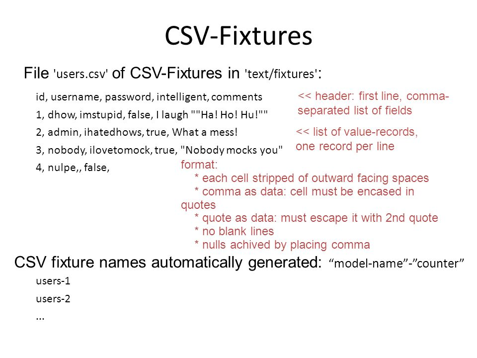 CSV-Fixtures id, username, password, intelligent, comments 1, dhow, imstupid, false, I laugh
