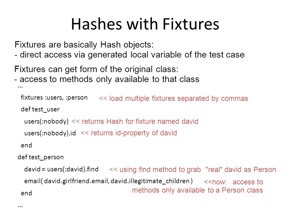 Hashes with Fixtures...