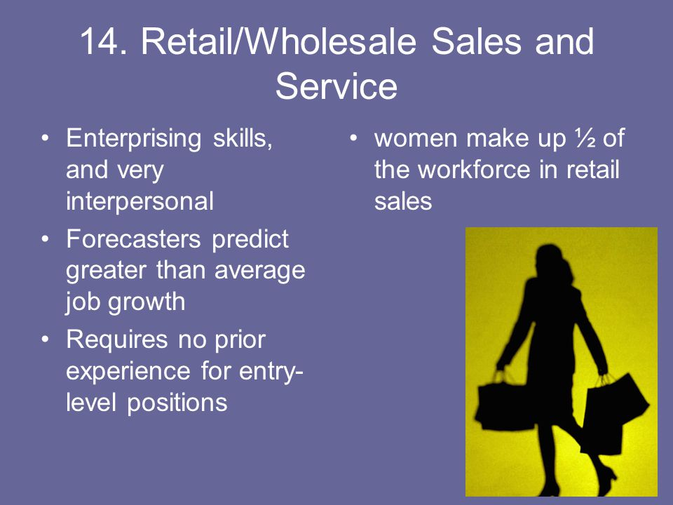 14. Retail/Wholesale Sales and Service Enterprising skills, and very interpersonal Forecasters predict greater than average job growth Requires no pri