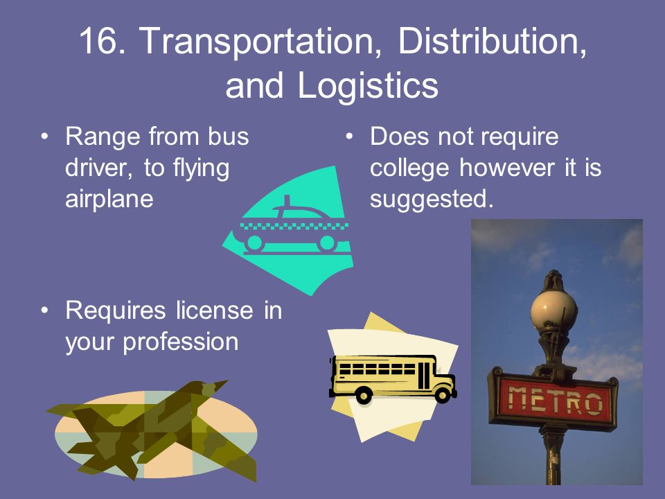 16. Transportation, Distribution, and Logistics Range from bus driver, to flying airplane Requires license in your profession Does not require college