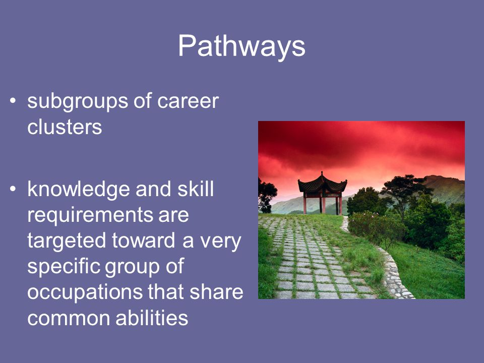 Pathways subgroups of career clusters knowledge and skill requirements are targeted toward a very specific group of occupations that share common abil