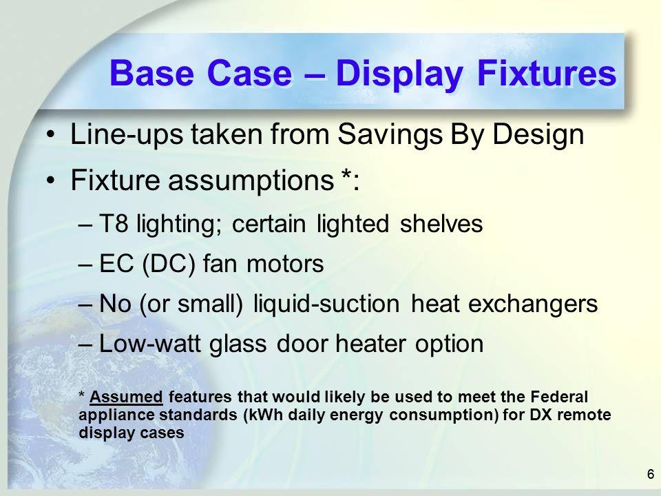 66 Base Case – Display Fixtures Line-ups taken from Savings By Design Fixture assumptions *: –T8 lighting; certain lighted shelves –EC (DC) fan motors