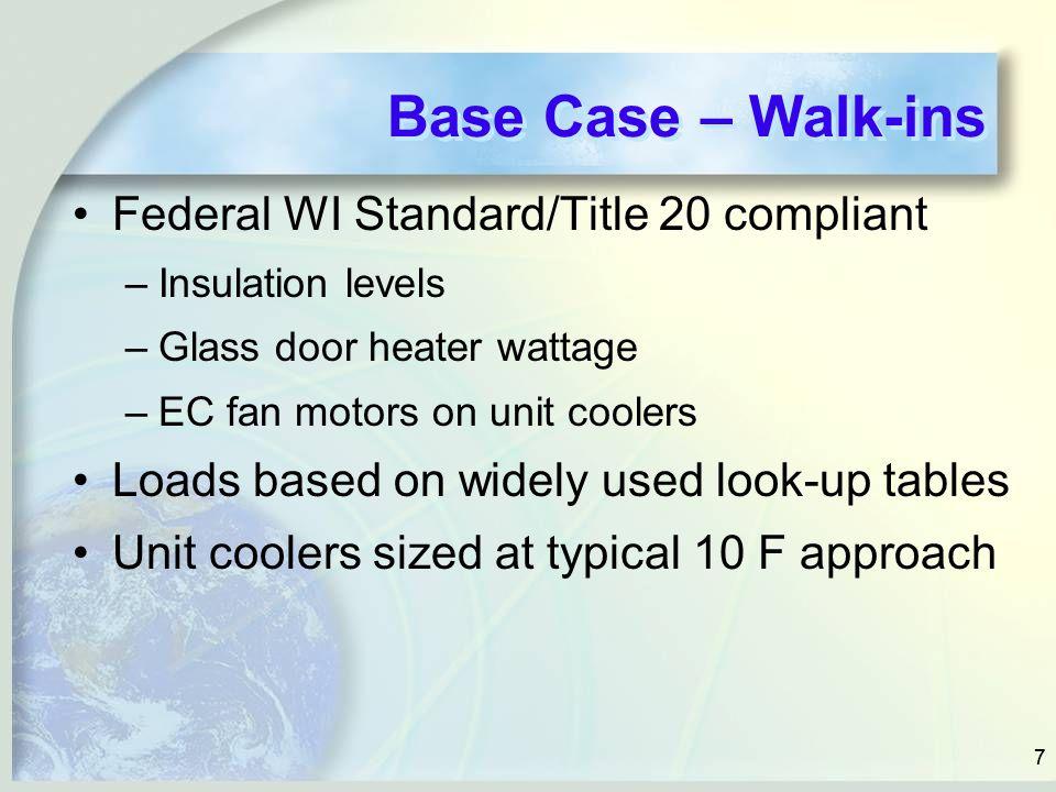 77 Base Case – Walk-ins Federal WI Standard/Title 20 compliant –Insulation levels –Glass door heater wattage –EC fan motors on unit coolers Loads base