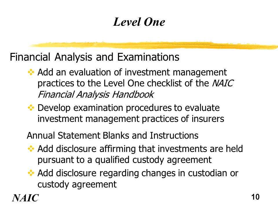 10 Level One NAIC Financial Analysis and Examinations vAdd an evaluation of investment management practices to the Level One checklist of the NAIC Financial Analysis Handbook vDevelop examination procedures to evaluate investment management practices of insurers Annual Statement Blanks and Instructions vAdd disclosure affirming that investments are held pursuant to a qualified custody agreement vAdd disclosure regarding changes in custodian or custody agreement