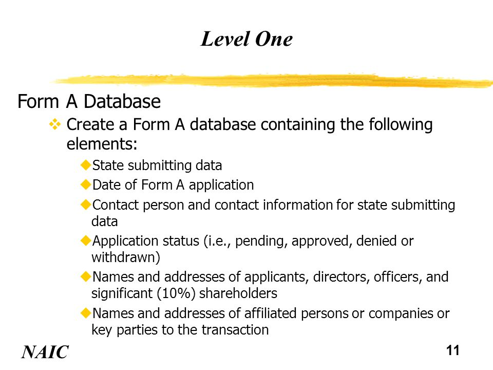 11 Level One NAIC Form A Database vCreate a Form A database containing the following elements: uState submitting data uDate of Form A application uCon