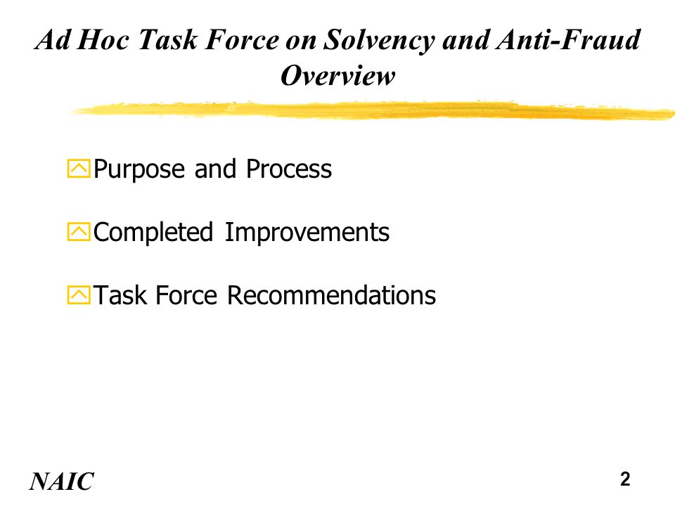 2 Ad Hoc Task Force on Solvency and Anti-Fraud Overview yPurpose and Process yCompleted Improvements yTask Force Recommendations NAIC