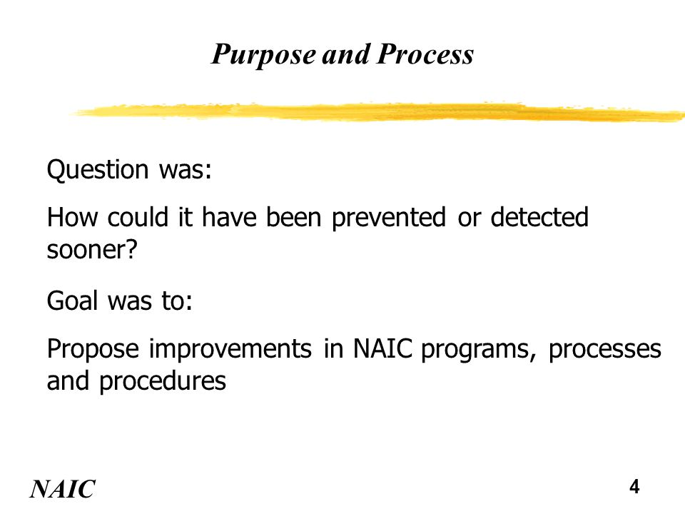 4 Purpose and Process NAIC Question was: How could it have been prevented or detected sooner? Goal was to: Propose improvements in NAIC programs, proc