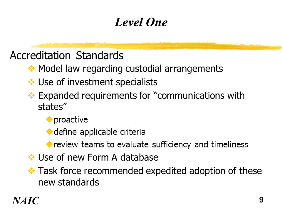 9 Level One NAIC Accreditation Standards vModel law regarding custodial arrangements vUse of investment specialists vExpanded requirements for communications with states uproactive udefine applicable criteria ureview teams to evaluate sufficiency and timeliness vUse of new Form A database vTask force recommended expedited adoption of these new standards