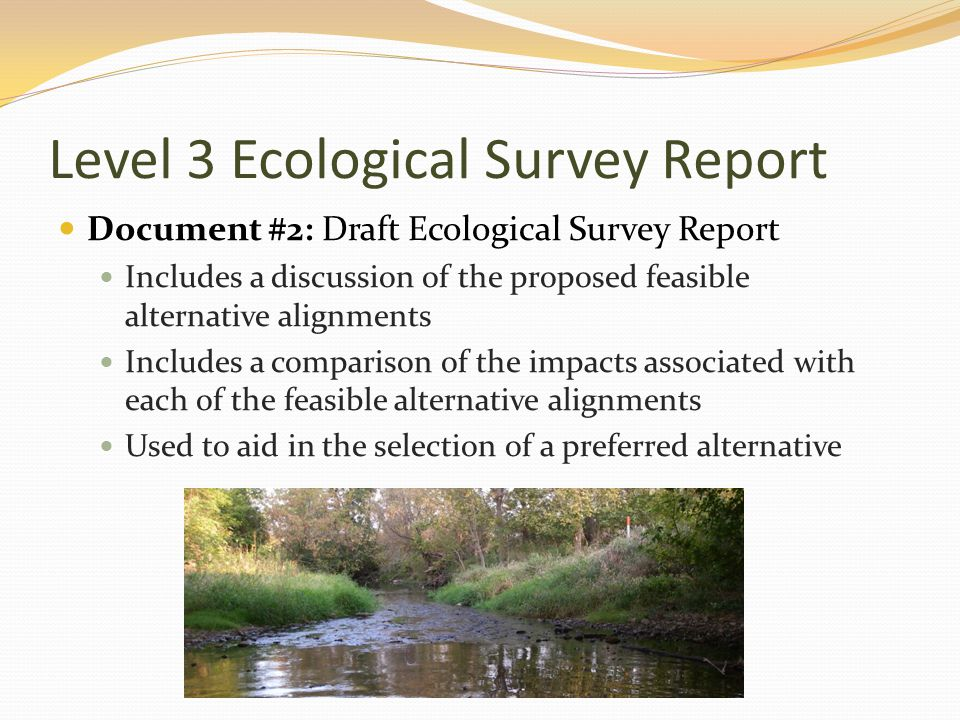 Level 3 Ecological Survey Report Document #2: Draft Ecological Survey Report Includes a discussion of the proposed feasible alternative alignments Includes a comparison of the impacts associated with each of the feasible alternative alignments Used to aid in the selection of a preferred alternative