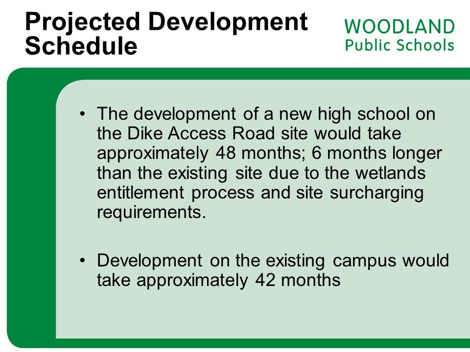 Projected Development Schedule The development of a new high school on the Dike Access Road site would take approximately 48 months; 6 months longer t