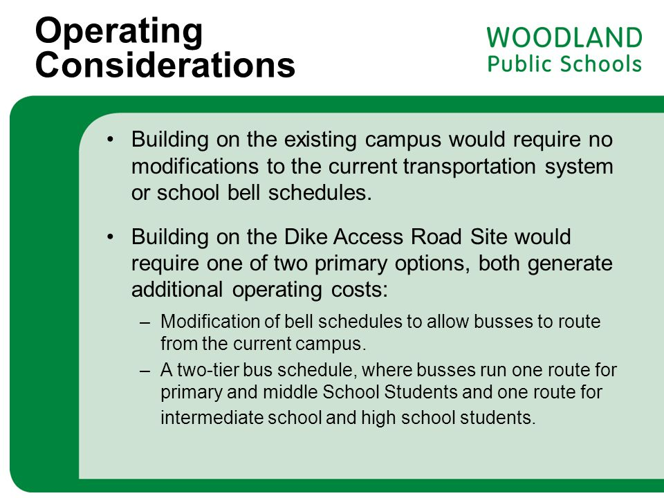 Operating Considerations Building on the existing campus would require no modifications to the current transportation system or school bell schedules.
