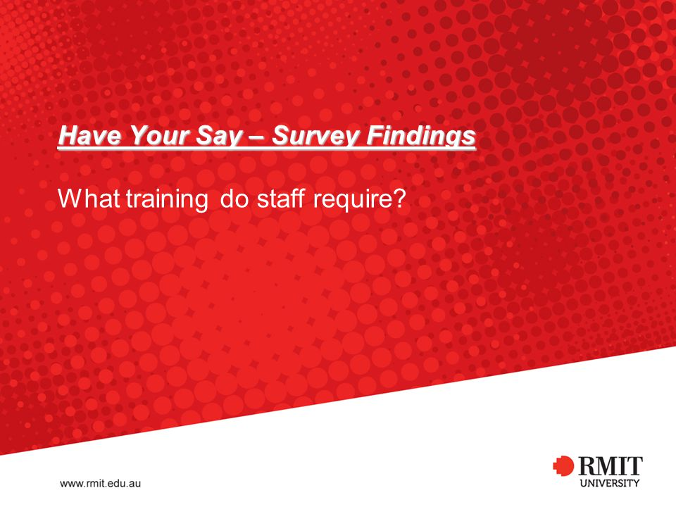 Have Your Say – Survey Findings Have Your Say – Survey Findings What training do staff require.