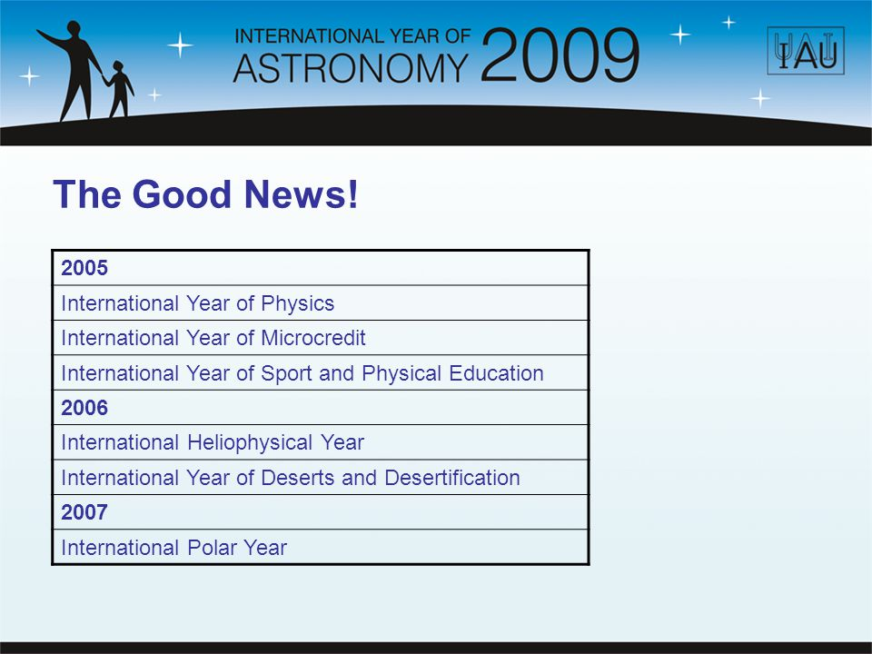 The Good News! 2005 International Year of Physics International Year of Microcredit International Year of Sport and Physical Education 2006 Internatio