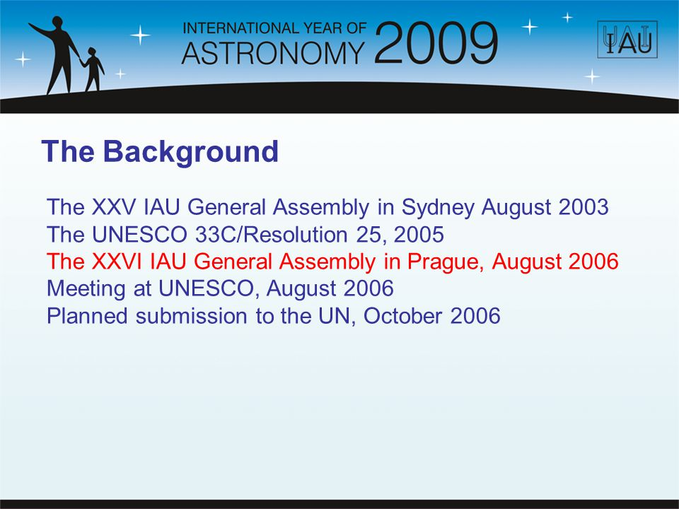 The Background The XXV IAU General Assembly in Sydney August 2003 The UNESCO 33C/Resolution 25, 2005 The XXVI IAU General Assembly in Prague, August 2