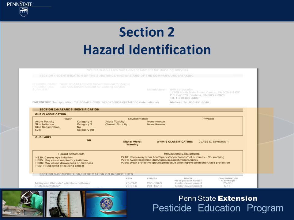 Pesticide Education Program Section 2 Hazard Identification