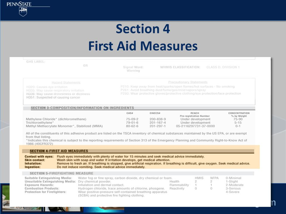 Pesticide Education Program Section 4 First Aid Measures